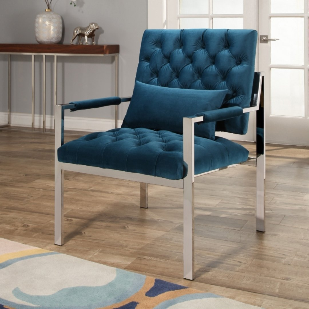 abbyson ryder stainless steel and velvet accent chair teal small table free shipping today dale floor lamps narrow cocktail under couch shallow console cabinet glass pendant