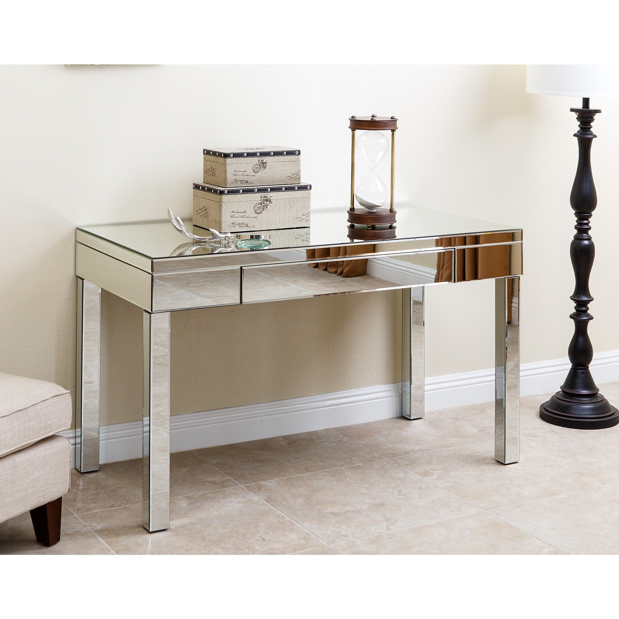abbyson sylvia mirrored desk free shipping today living metal accent table white ginger jar lamps cement side outside end black and gold bedside handbag storage ikea glass top