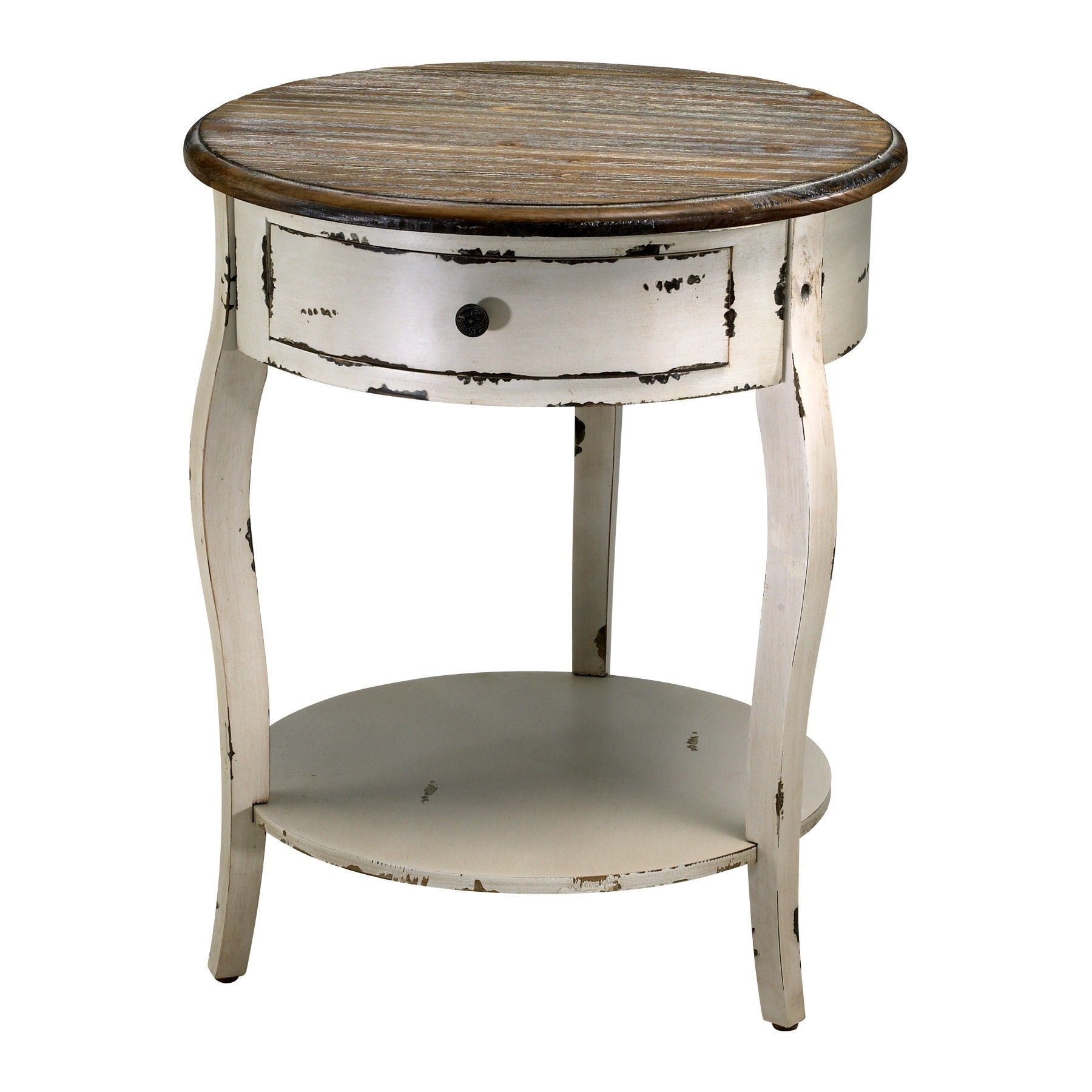 abelard side table cyan design paint rustic round accent this beautiful features off white distressed painted finish and natural wood top center drawer open shelf make leg kit