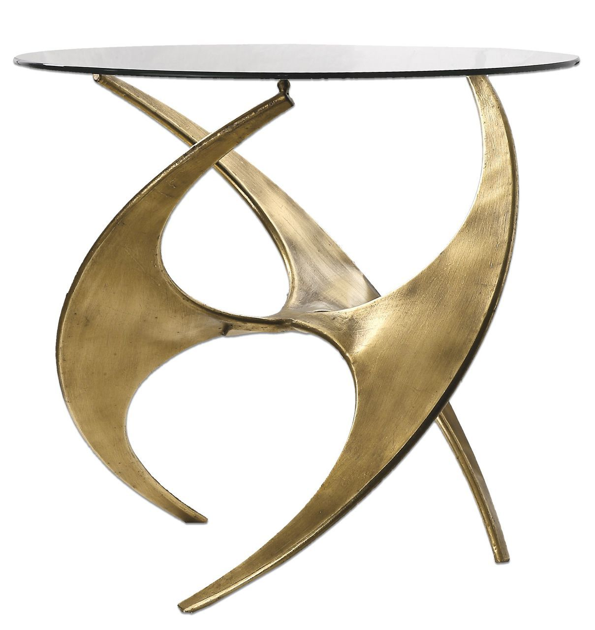 abstract sculpture gold metal accent table round modern art graciano glass white mirrored chair and set dining base only rustic chic end tables antique mahogany side target chaise