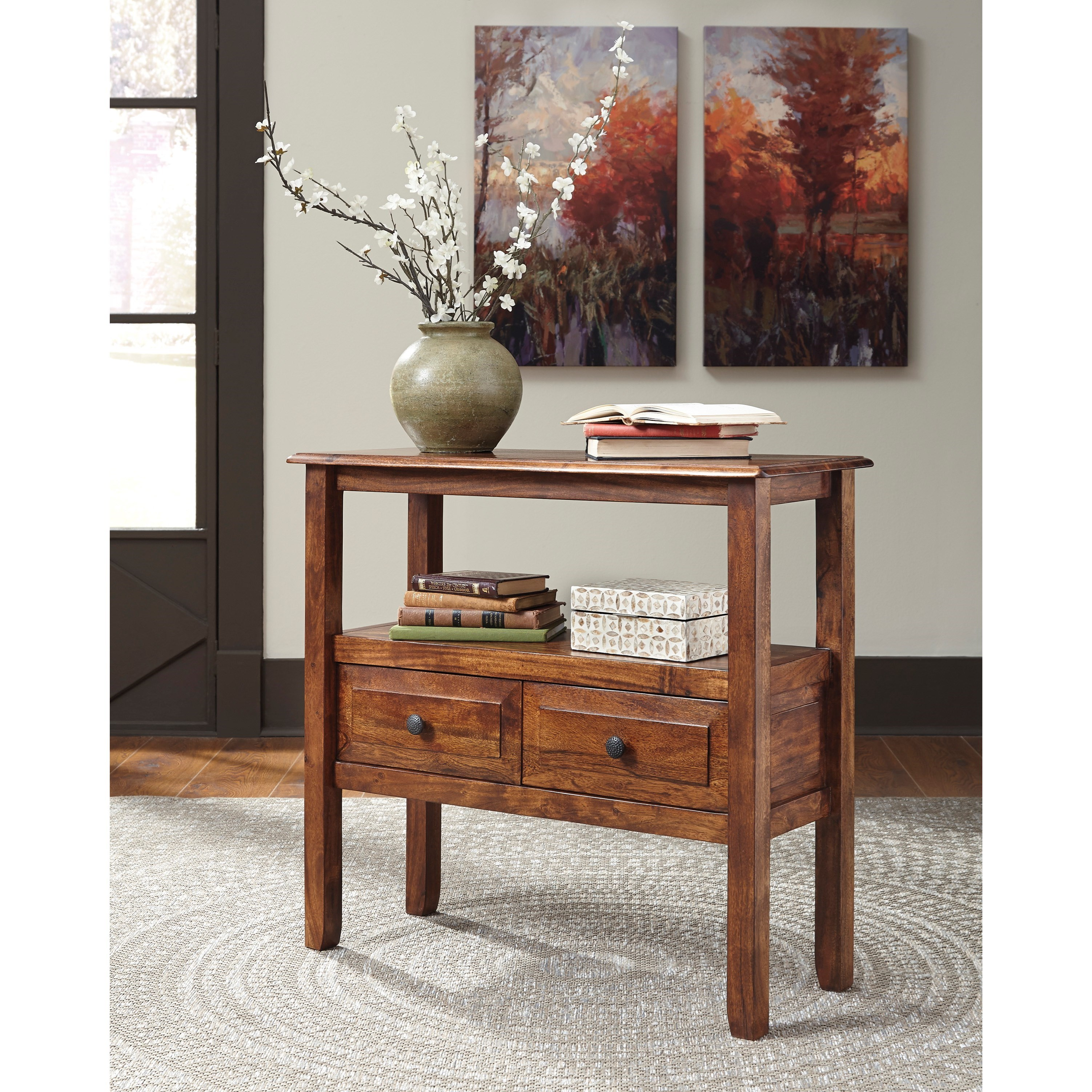 acacia solid wood accent table signature design ashley wolf products color abbonto console chest drawers corner end target wall mirrors side with umbrella hole unusual tables
