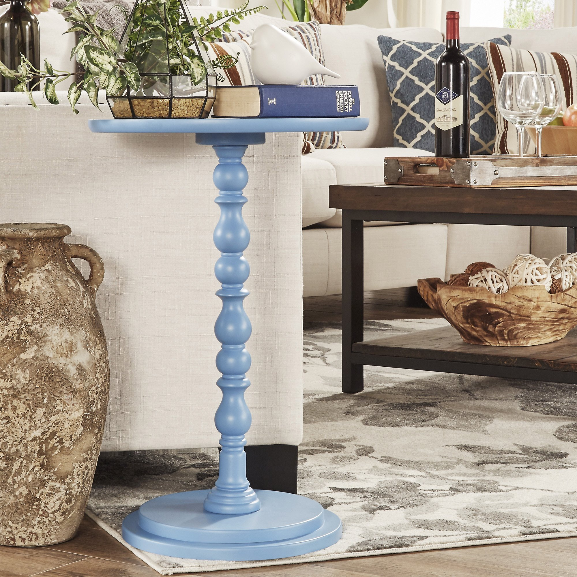 acapella sky blue round accent end table free shipping today inspire console desk with drawers modern pedestal side bunnings trestle chair design rechargeable lamps for home patio
