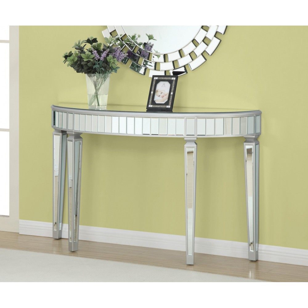 accent cabinets half oval mirrored console table gold small metal end elegant placemats funky tables round with screw legs patio swing square pier imports bohemian coffee retro