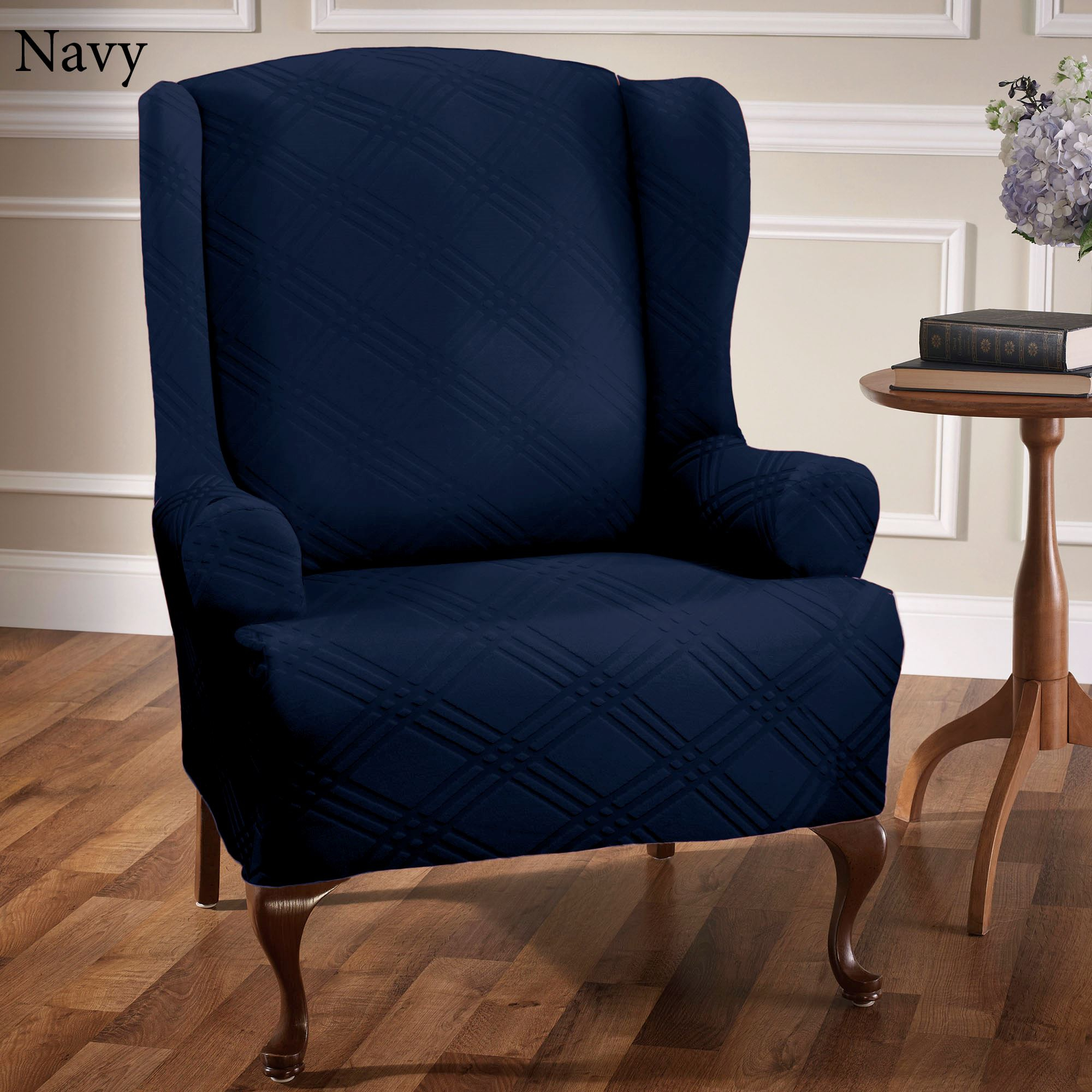 accent chair excellent grey tufted linen wingback for warm brilliant dark blue bedroom pattern with relaxed small oak wood side table furniture varnished wooden floor full size