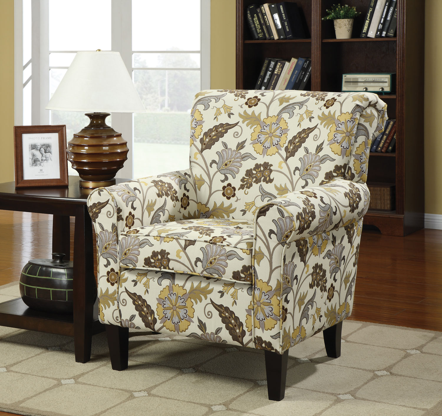 accent chair with arms morganallen designs lovable floral honnally chairs furniture toronto for patio ikea desk legs small decorative side tables black counter height table big