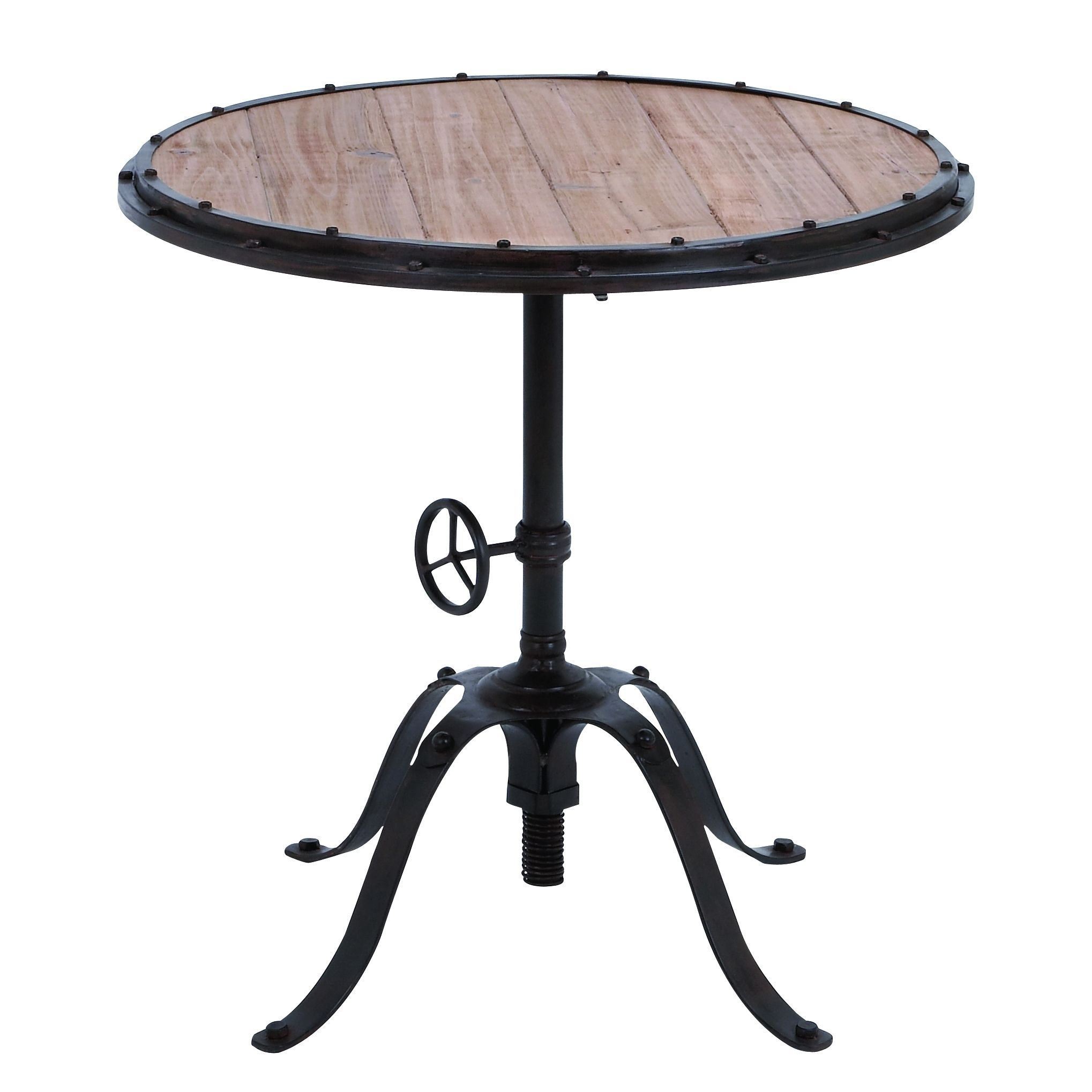 accent collection black distressed metal and wood inch round table studio small patio dining old lighting light shower head gray white coffee solid folding kitchen chairs outdoor