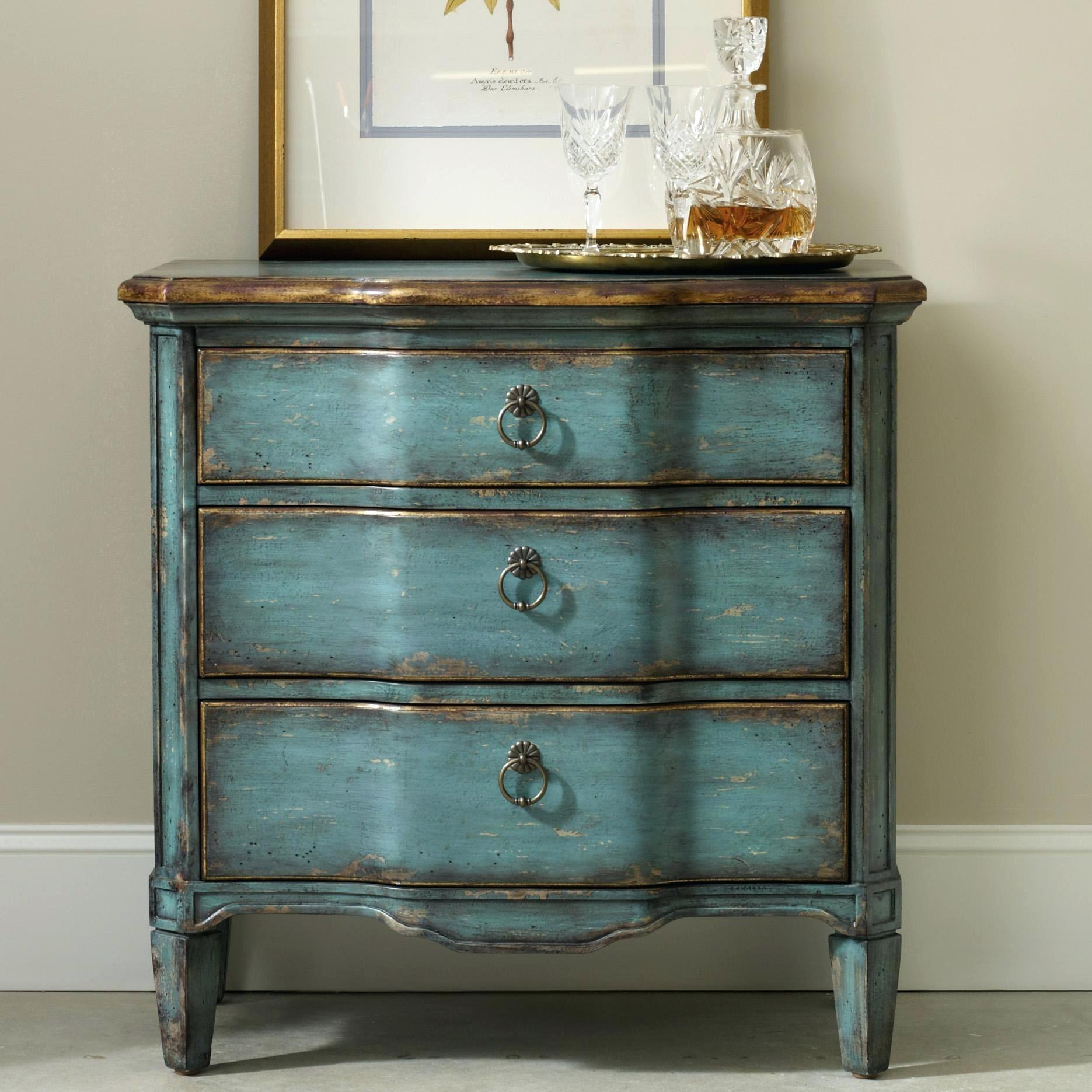 accent furniture for small spaces hooker living room accents three drawer turquoise chest with shaped front bedroom ideas tables little round side table bench seat concrete and