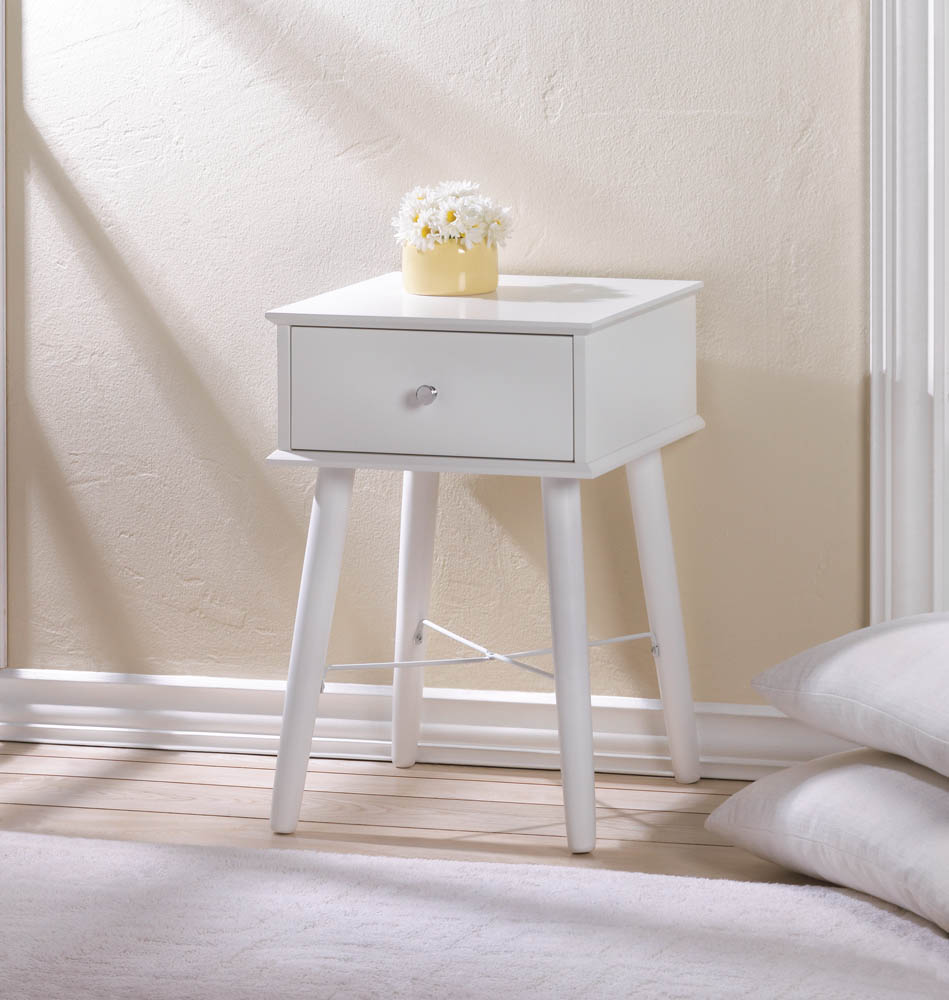 accent plus modern chic side table white lacquer glass cabinet knobs decorating console entryway tall end tables target kitchenette furniture lack bedside canadian tire patio bbq
