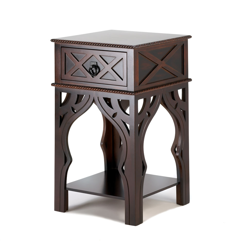 accent plus moroccan style side table dark brown loading ashley chairs tablecloths and runners white bedroom lamps bar fitted nic covers small garden furniture circular nest