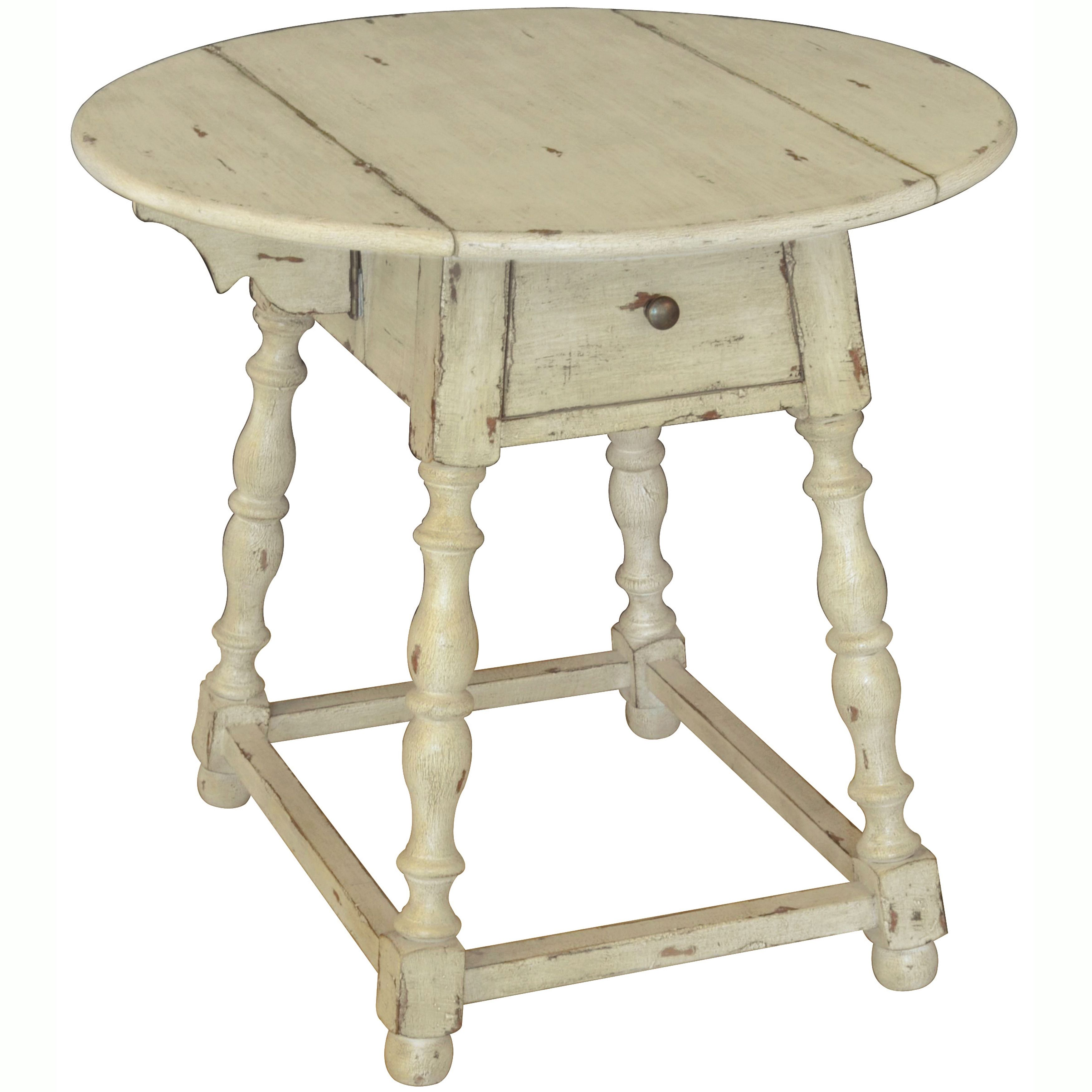 accent room with look yesteryear this antiqued round distressed table unfinished console black metal stools mosaic indoor corner drawer square side wood blue oriental lamps