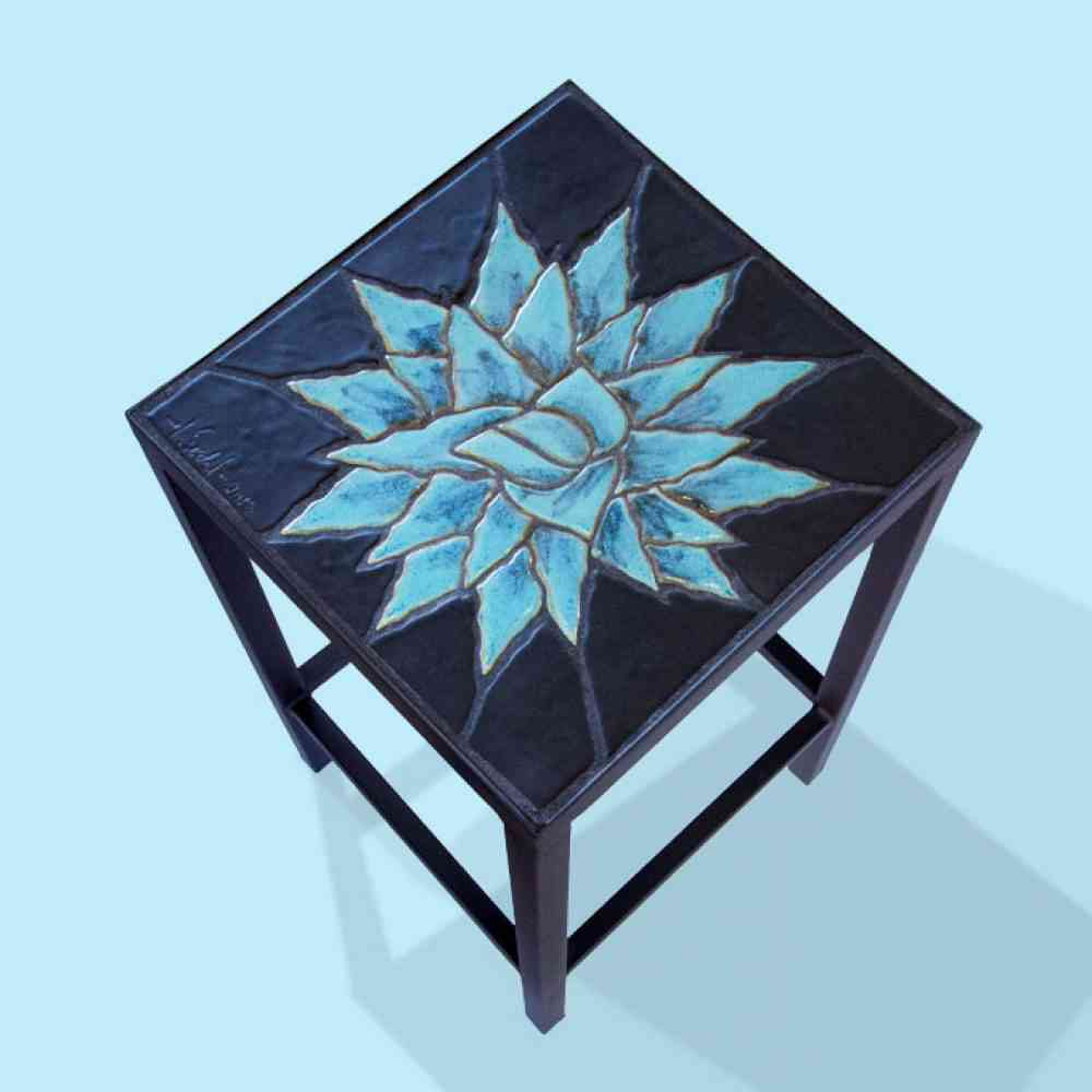 accent table agave rosette large jim sudal ceramic design blue sheesham bedside pier one wicker chair tiffany butcher block countertop round furniture legs small mirrored cedar