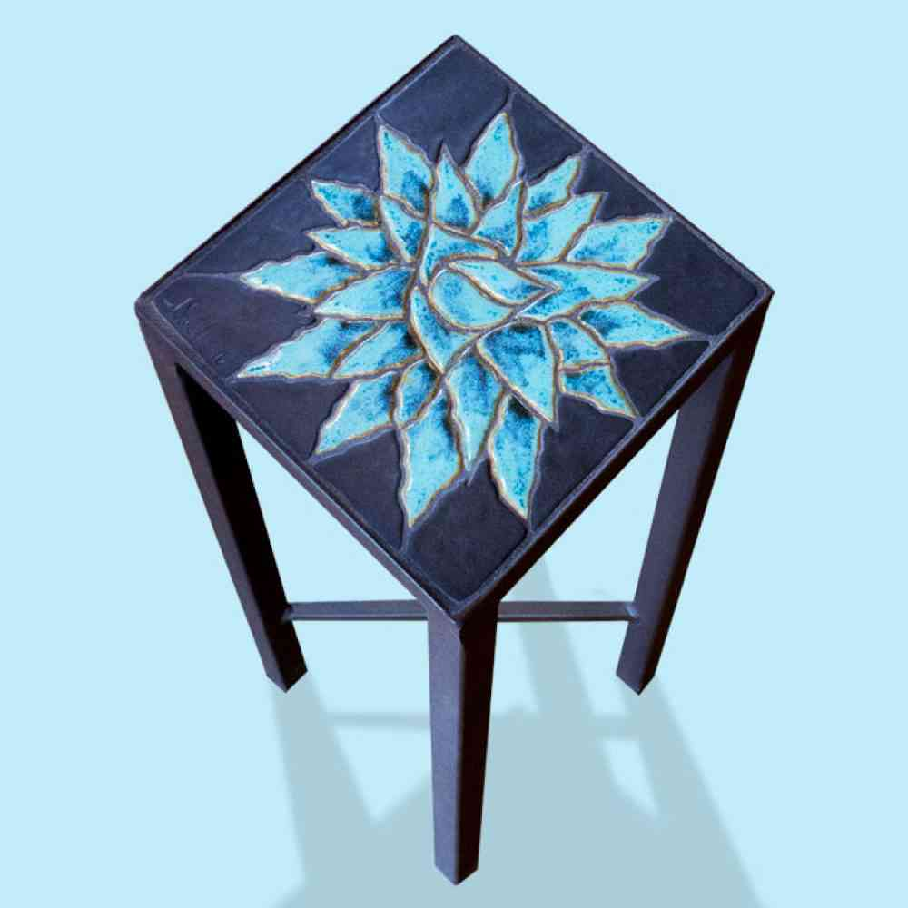 accent table agave rosette small jim sudal ceramic design blue white end temple jar lamps farm style tables inch cabinet wood pedestal plastic placemats pottery barn black drum