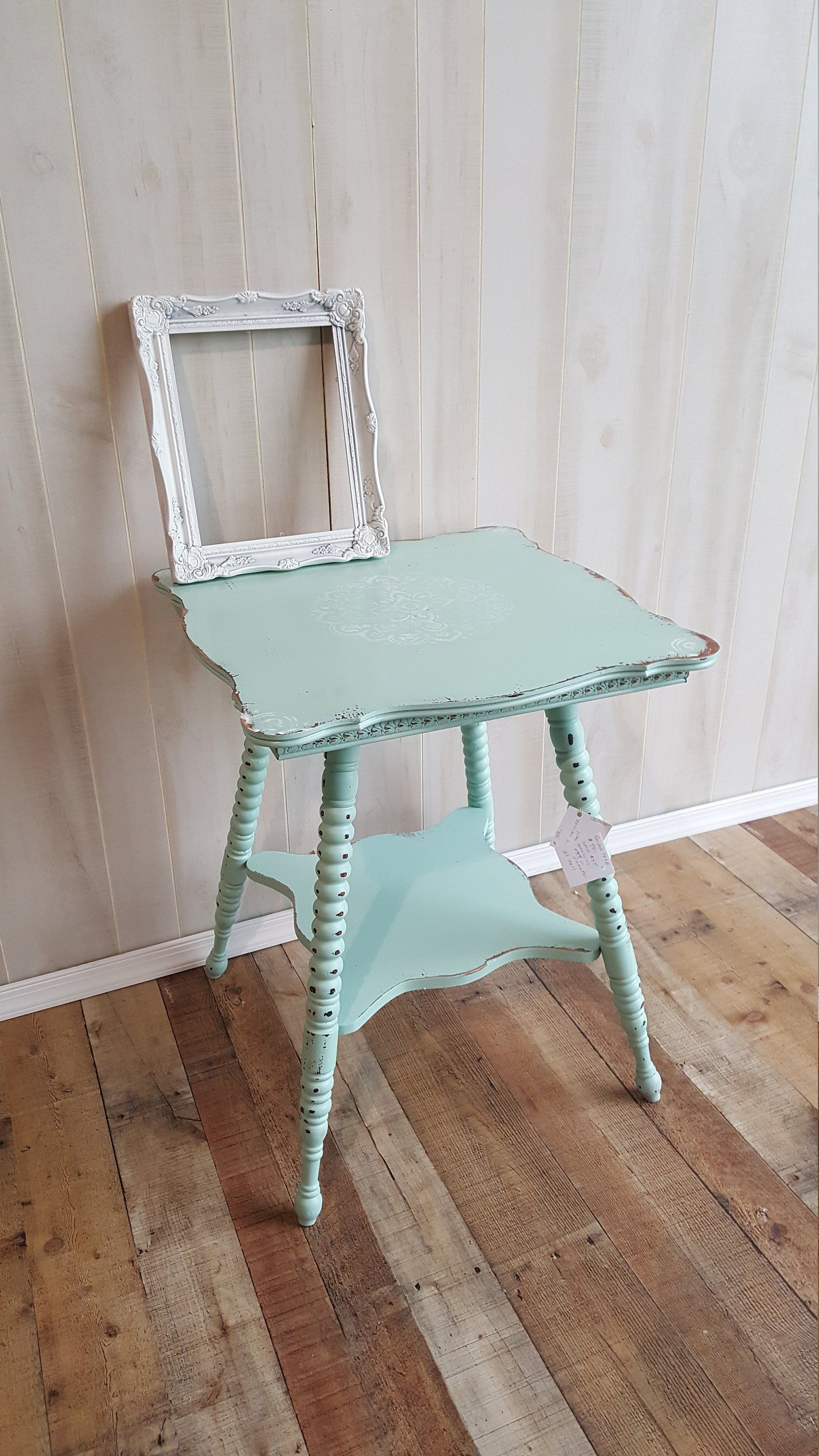 accent table antique painted pale gree vintage tall square stencil the middle and then distressed measures wide glass pendant shades pottery barn reading lamp ceramic end stool