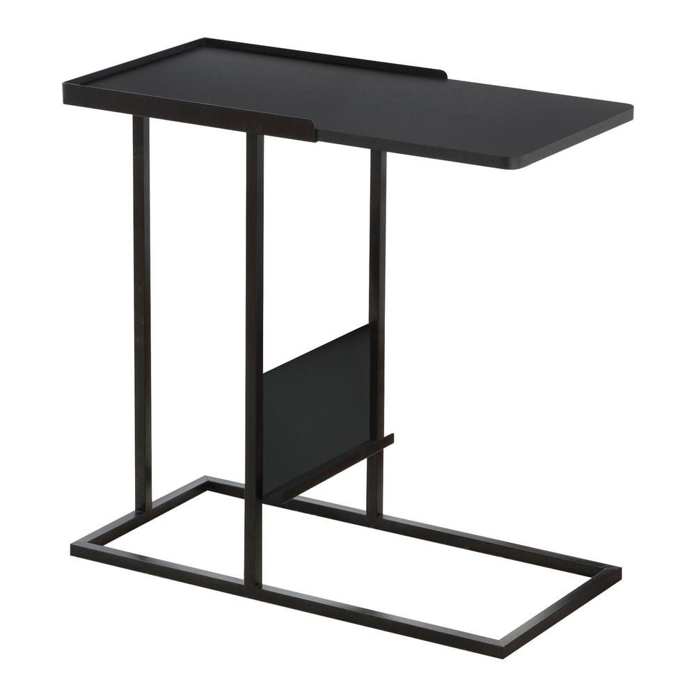 accent table black metal with magazine rack white corner computer desk tool storage cabinets very garden furniture glass top coffee marble high back chair west elm reviews tall