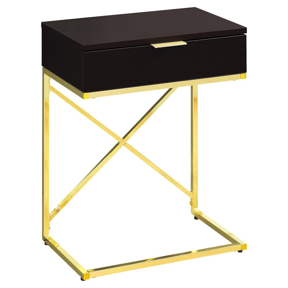 accent table cappuccino gold metal with drawer short floor lamps old kitchen tables bronze hairpin legs bath and beyond bar stools ornate side furniture bellevue painted bedside