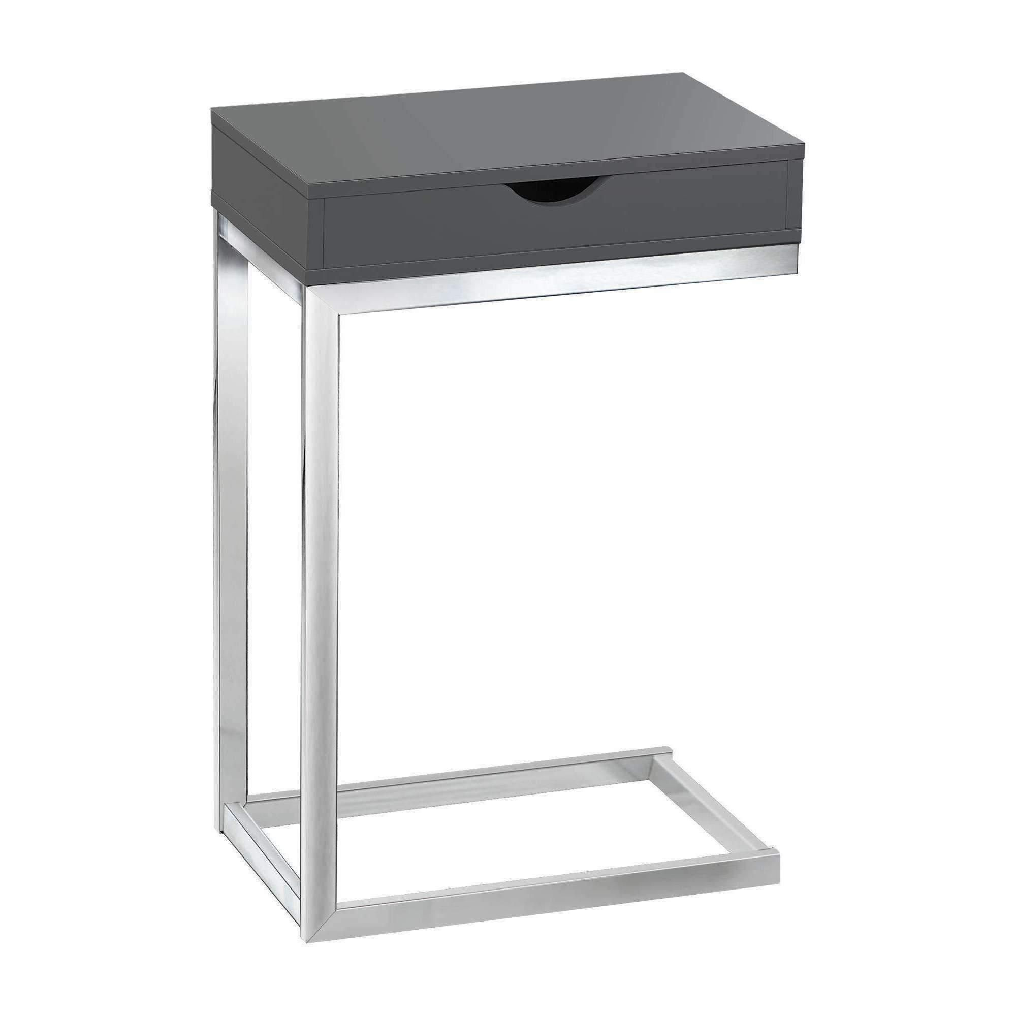 accent table chrome metal glossy grey with drawer products threshold margate modern coffee green paint brass small buffet ikea insulated ice bucket allen jones orient lighting