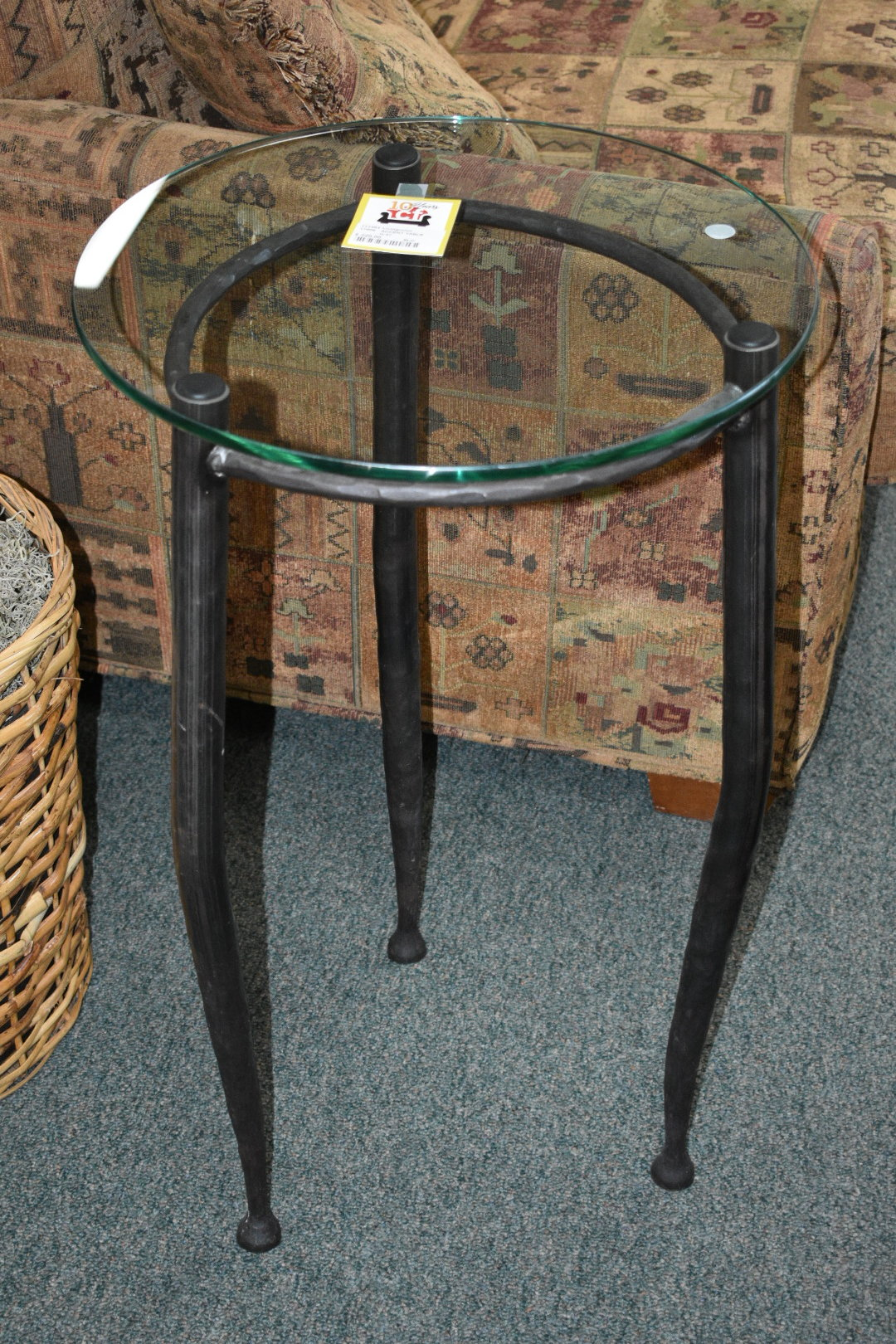 accent table consign furniture dsc round glass top tall with hamered metal legs excellent condition pottery barn reclaimed wood coffee antique lamps pier one clearance threshold