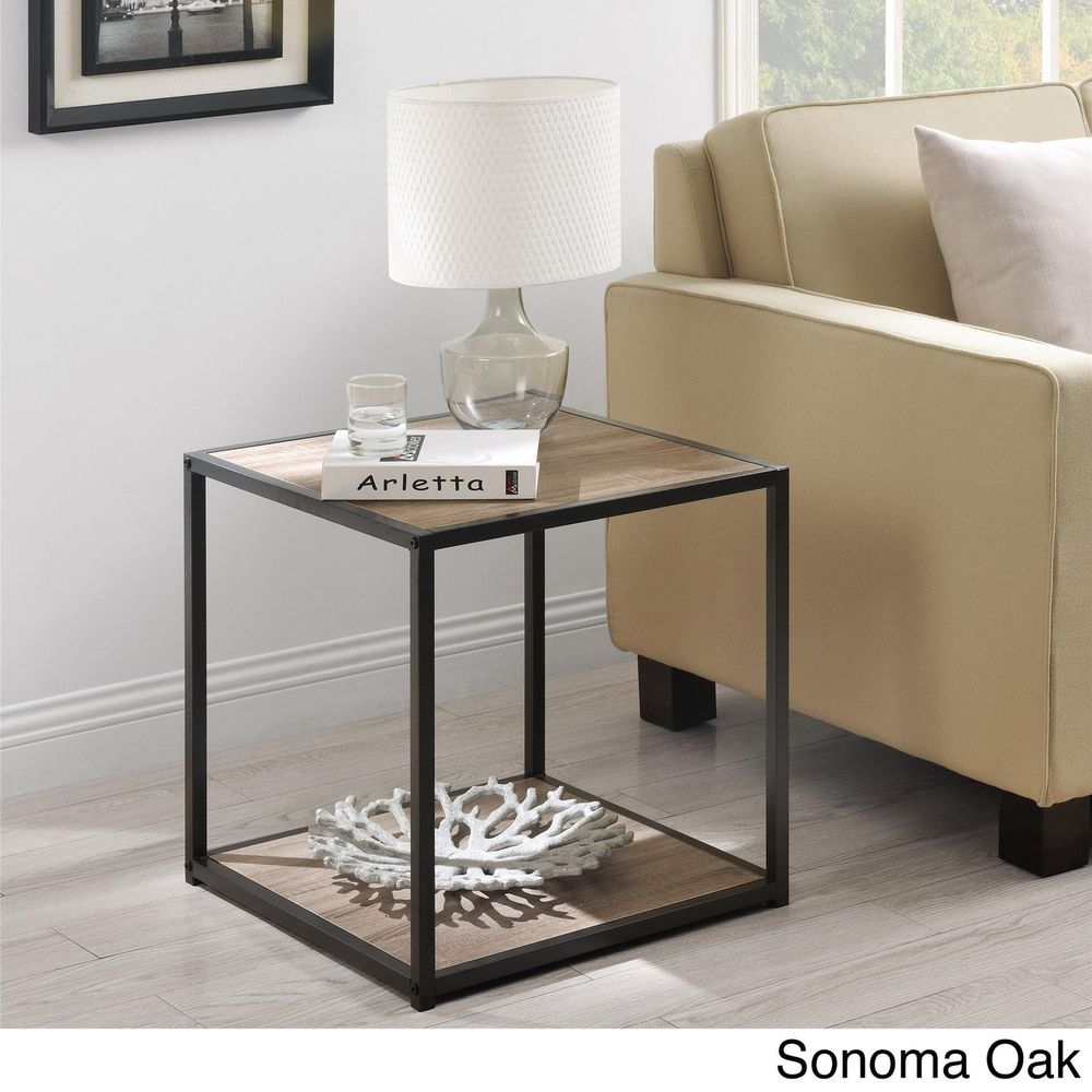accent table end side tables living room furniture modern metal for frame new oak ameriwoodhome two chairs and patio small oriental lamps with usb ports kirkland hardwood wood
