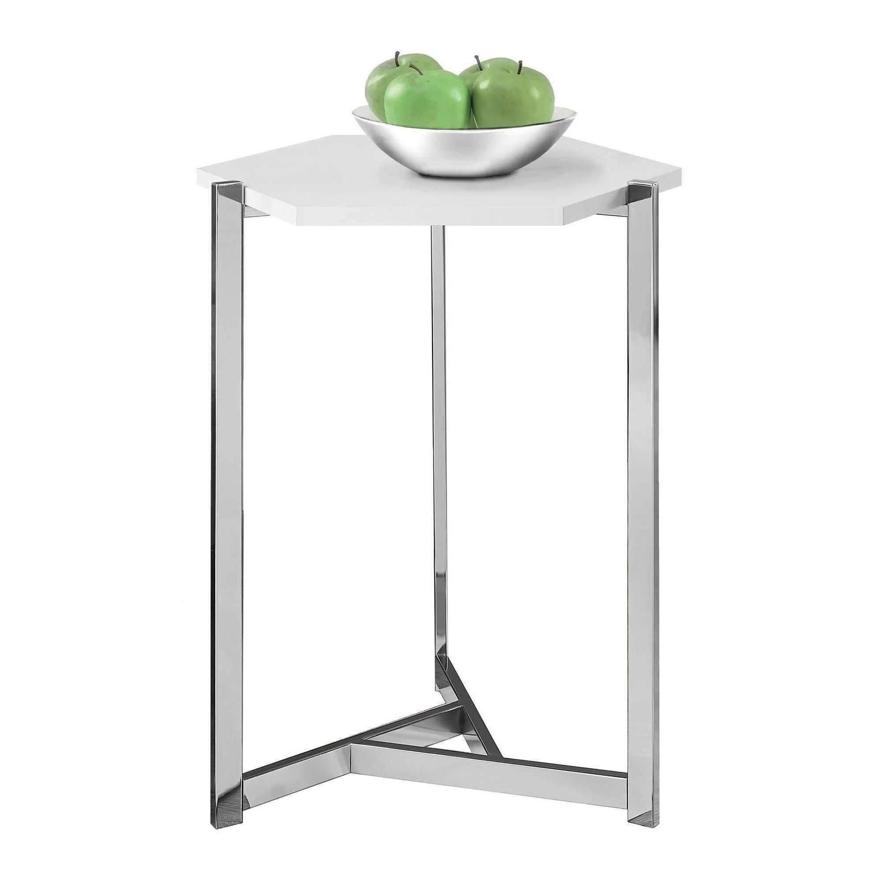 accent table hexagon glossy white chrome metal lamporia monarch hall console dark taupe home accents inch glass top tables bar height legs wood round mosaic outdoor dining small