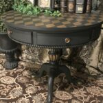 accent table painted annie sloan chalk paint color graphite with wood gold harlequin pattern stenciled top and details sealed polyvine flat outdoor battery lamps modern furniture 150x150