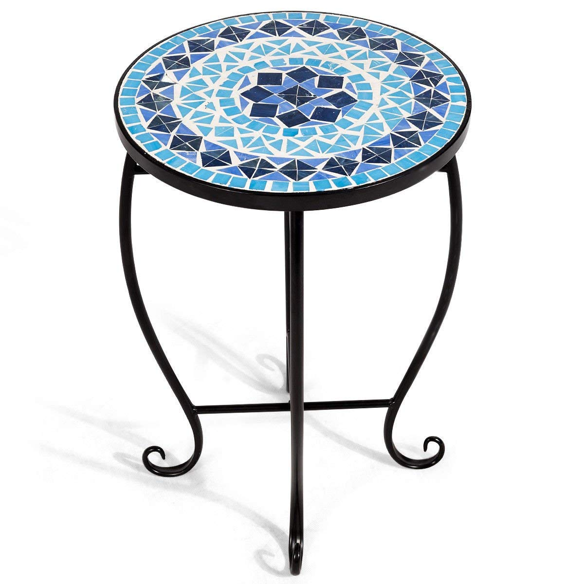 accent table plant stand cobalt blue color scheme garden steel stained glass outdoor indoor tall side with drawers kidney bean coffee retro modern linens small nesting tables