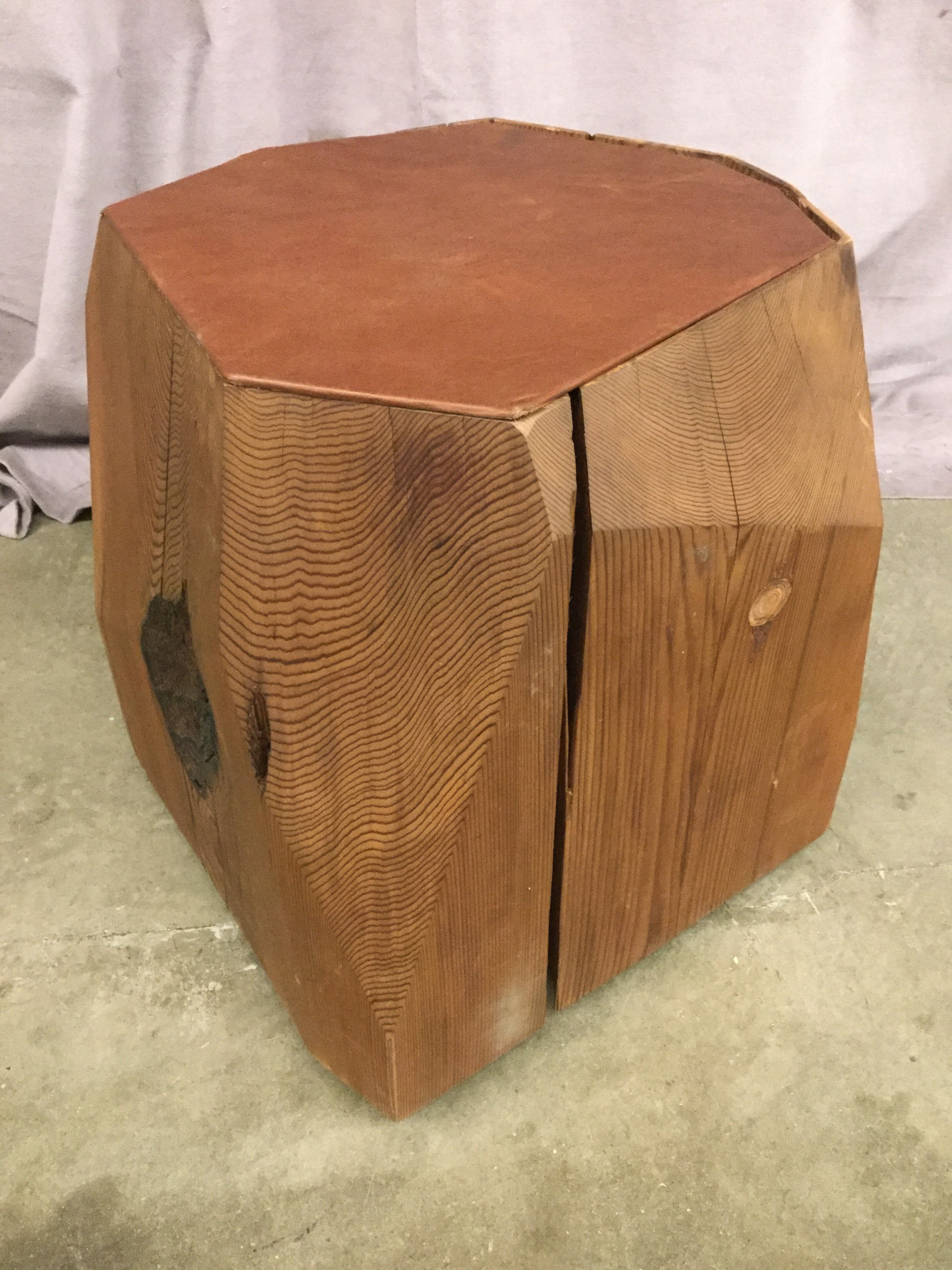 accent table stool faceted red cedar log inset leather brown round upholstered steel top home hardware furniture plexiglass modern wood coffee electric wall clock ashley sofa