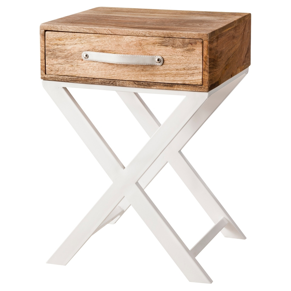 accent table threshold white and natural finish base narrow cabinet parsons side ikea garden storage box black wall clock windham door round nightstand with drawer cloth cover