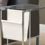 accent table white chrome metal with magazine rack tables holder outdoor furniture sets side aluminum used end long foyer patio corner telephone stand glass door cabinet coastal 150x150