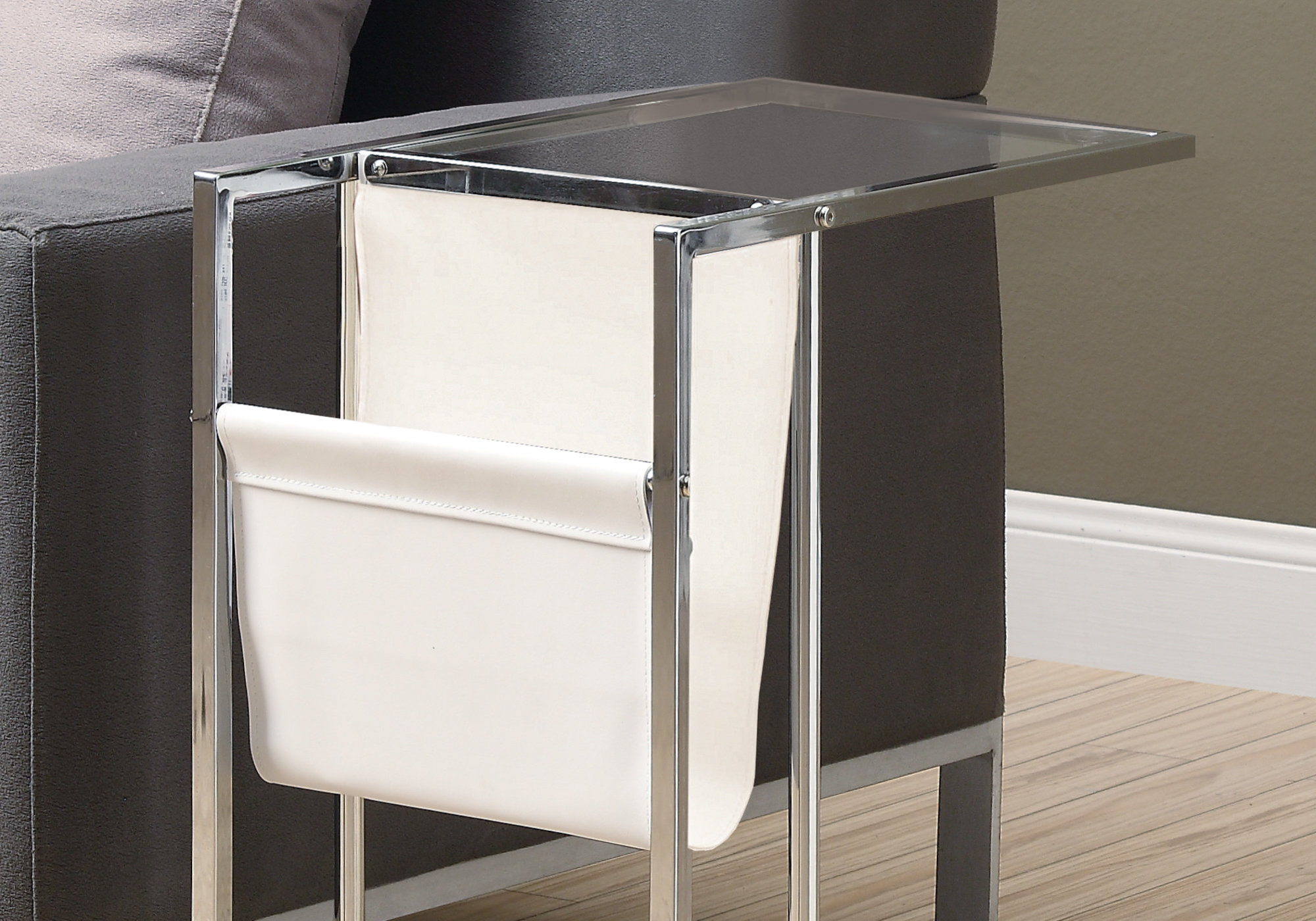 accent table white chrome metal with magazine rack tables holder outdoor furniture sets side aluminum used end long foyer patio corner telephone stand glass door cabinet coastal