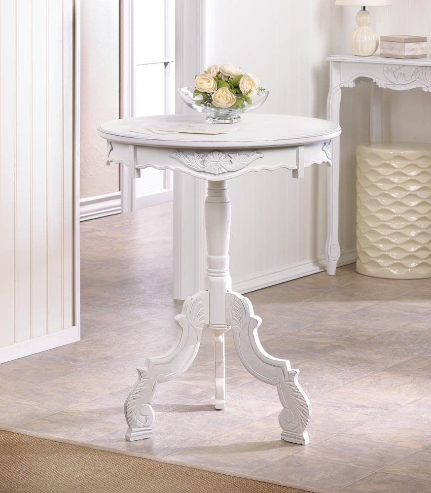 accent table white wooden rococo style vintage pedestal rustic tables living room bistro side gold and wood pottery barn entry bench clock end all marble cordless lamps qvc