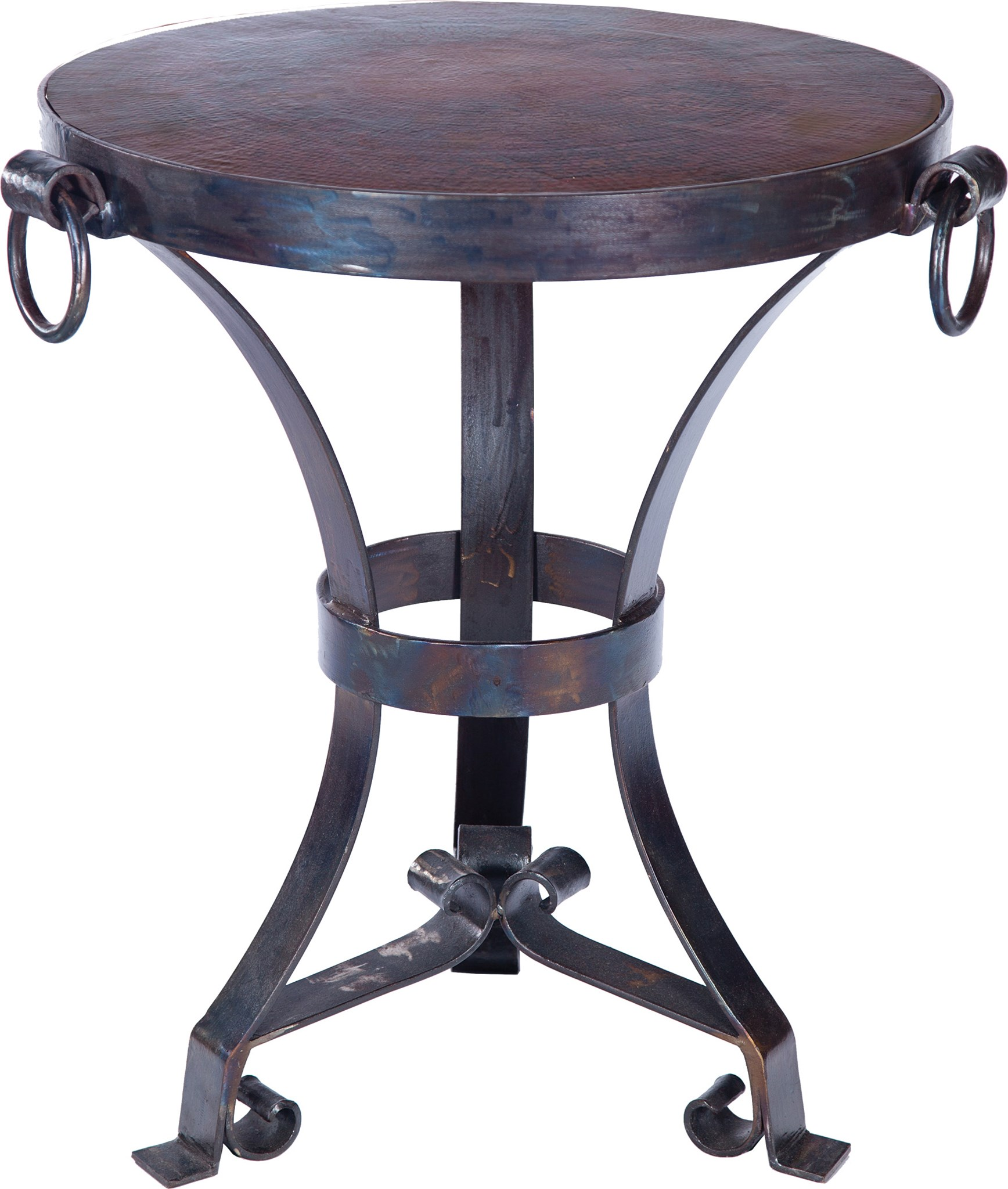 accent table with hardware rings and round dark brown hammered copper top boulevard urban living cotton napkins glass nesting side tables small garden furniture large shade