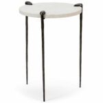 accent table with marble top dandelion spell white iron side raw steel finish and natural cardboard galvanized metal pier one wall decor cocktail tablecloth round industrial 150x150