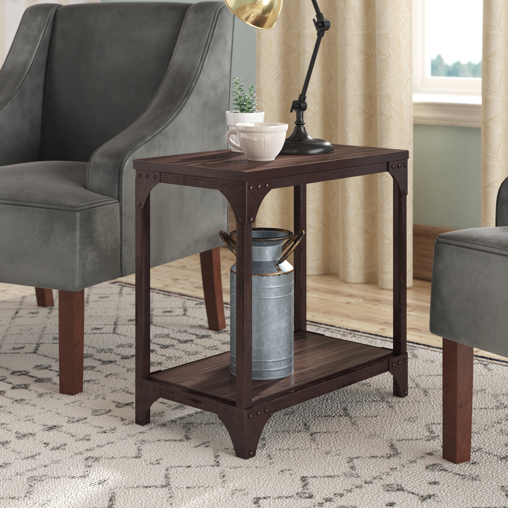 accent table with wheels amanda end room essentials mixed material teak rocking chairs barnwood tables aluminium door threshold trim drum seat dining legs wood country tablecloths