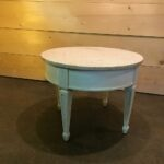 accent tables birdie barn vintage event rentals murrieta round white marble topped side table spindle wood tasha mid century modern painted chalk tan colored chairside agate nate 150x150