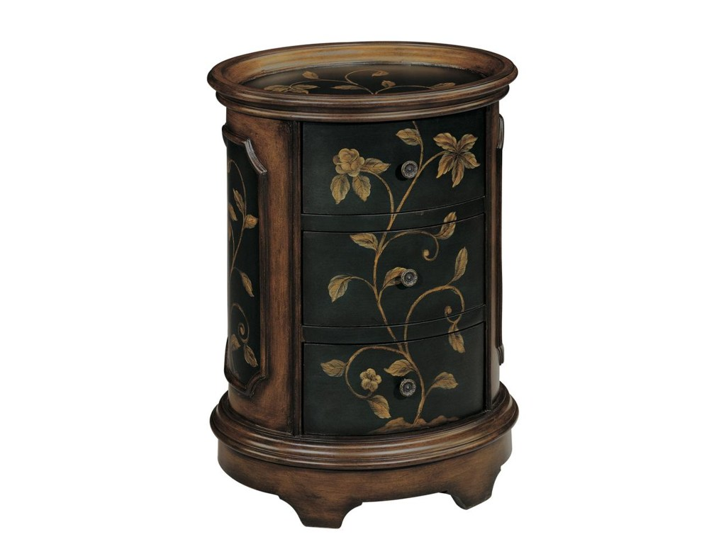 accent tables brown and black oval end table with floral motif products stein world color threshold white computer desk dining room chairs drum shaped battery powered led lamp