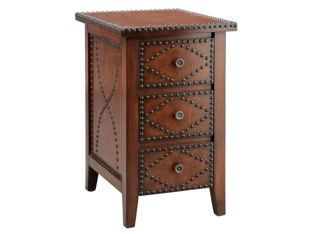 accent tables chairside drawer brown with nailhead morris home products stein world color table nailheads pier outdoor pillows dark entry bay furniture antique round claw feet