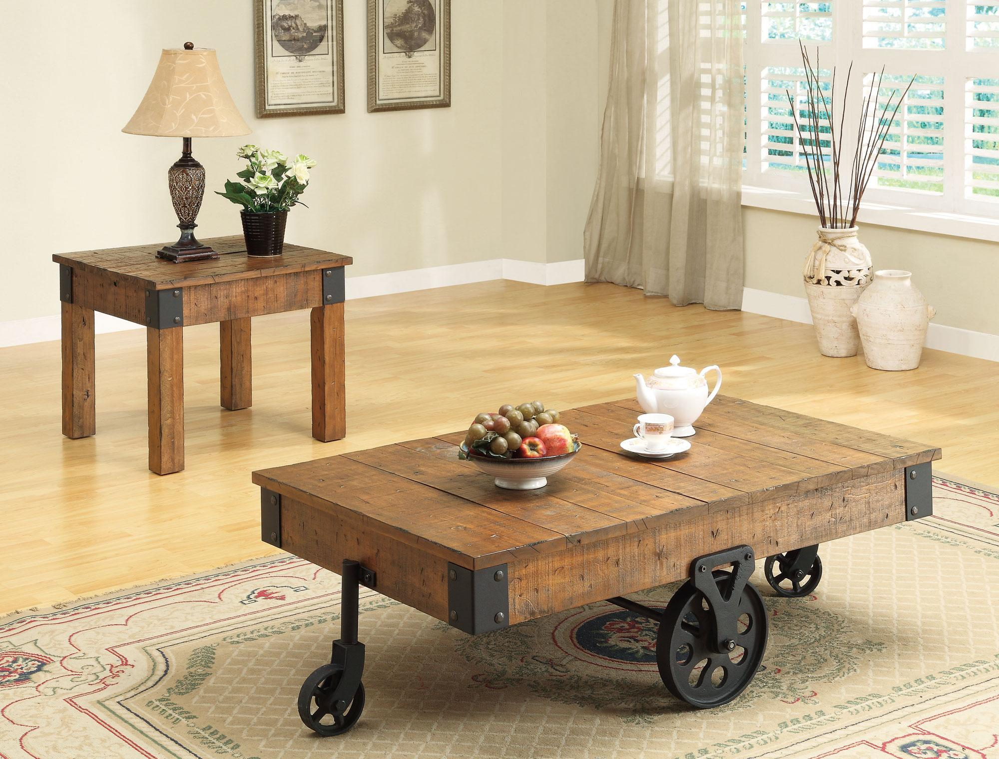 accent tables distressed country wagon coffee table quality products coaster color coas pottery barn quilted runner white marble nesting stainless steel kitchen cart card