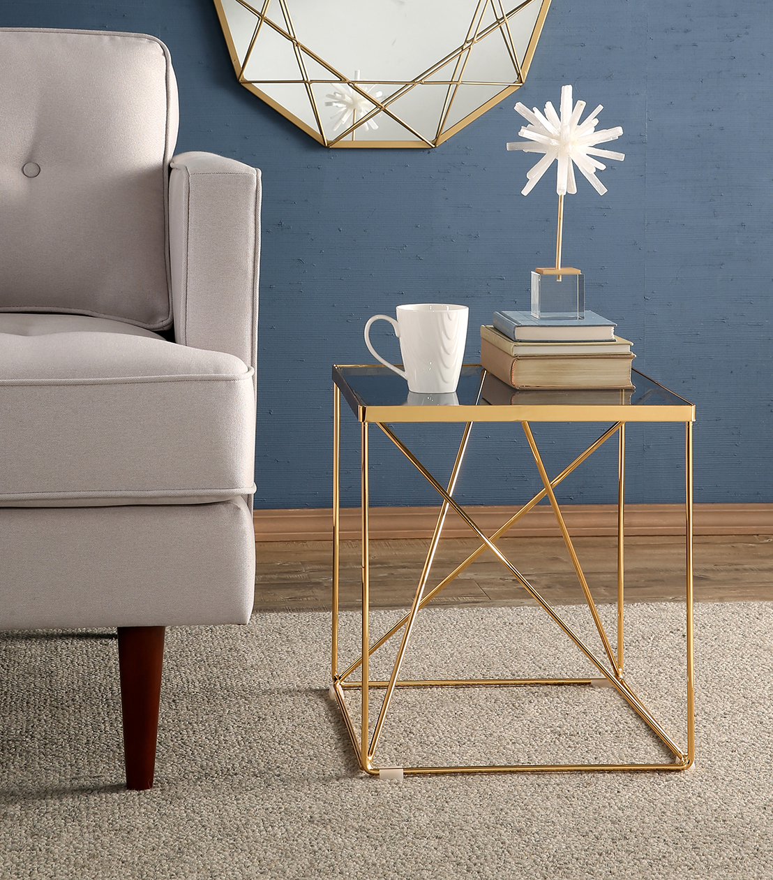 accent tables estrella glass top stainless steel end table gold with barn wood furniture tall aluminium threshold strip solid drawer reclaimed grey dining set small metal bedside