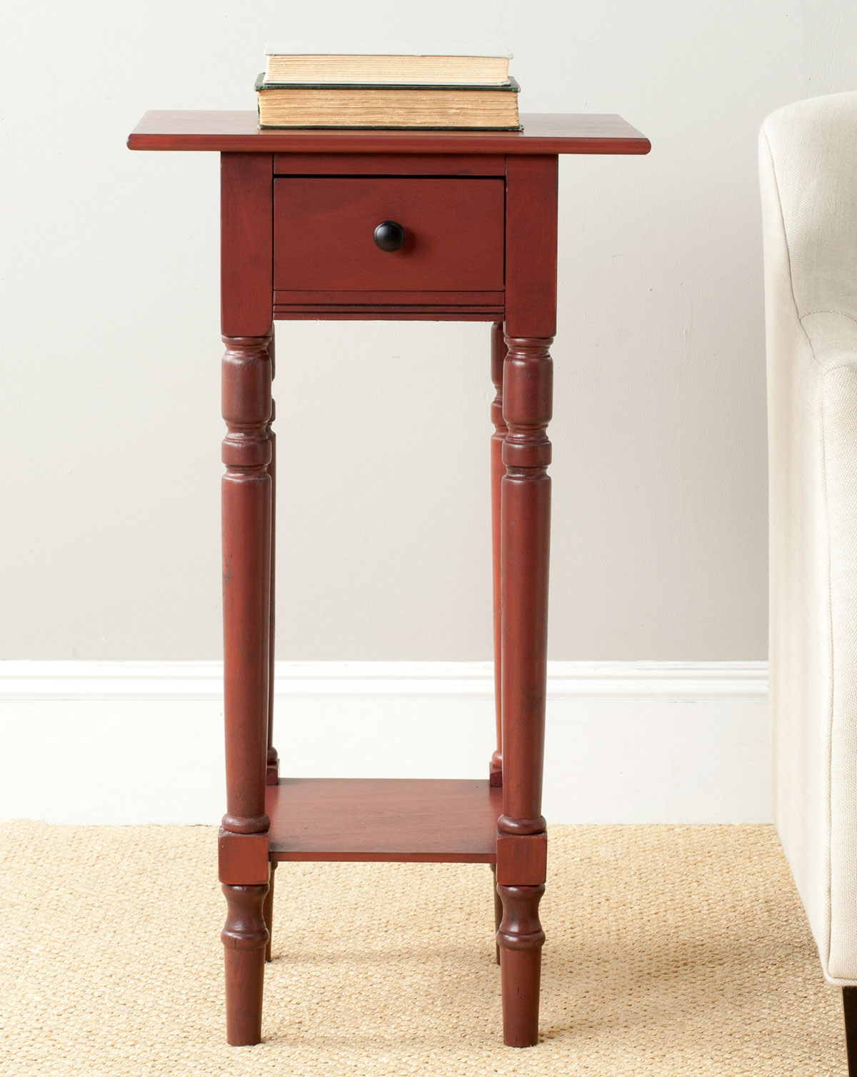 accent tables furniture safavieh room essentials storage table large enough hold like glasses reading lamp and books sabrina pine with pretty red finish doesn need much space