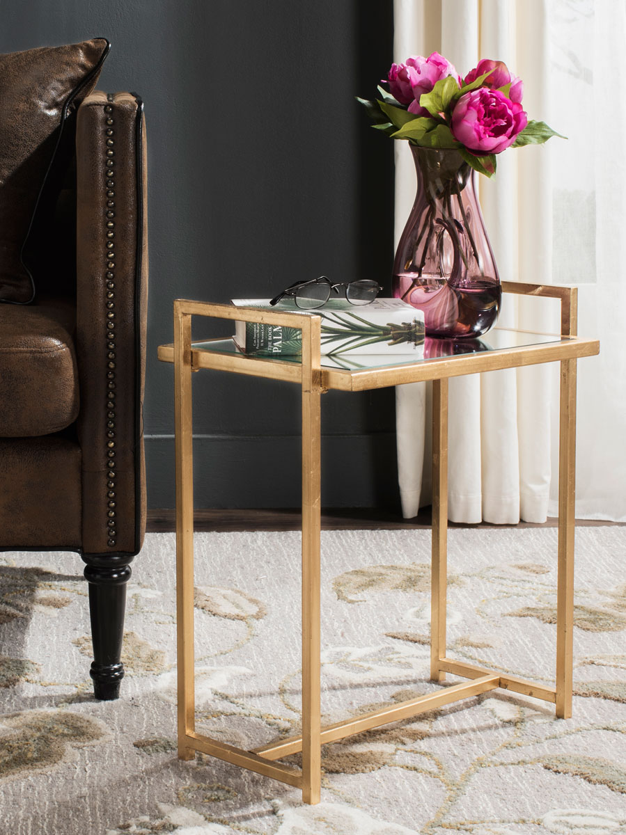 accent tables furniture safavieh room mirrored glass table renly mirror top gold leaf end design high dining set corner lamp black cherry coffee tall narrow nightstand with