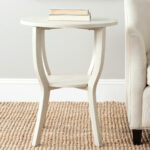 accent tables furniture safavieh room round pedestal table crafted elm wood with whitewash finish the top paired hour glass legs and useful storage shelf modern white coffee 150x150