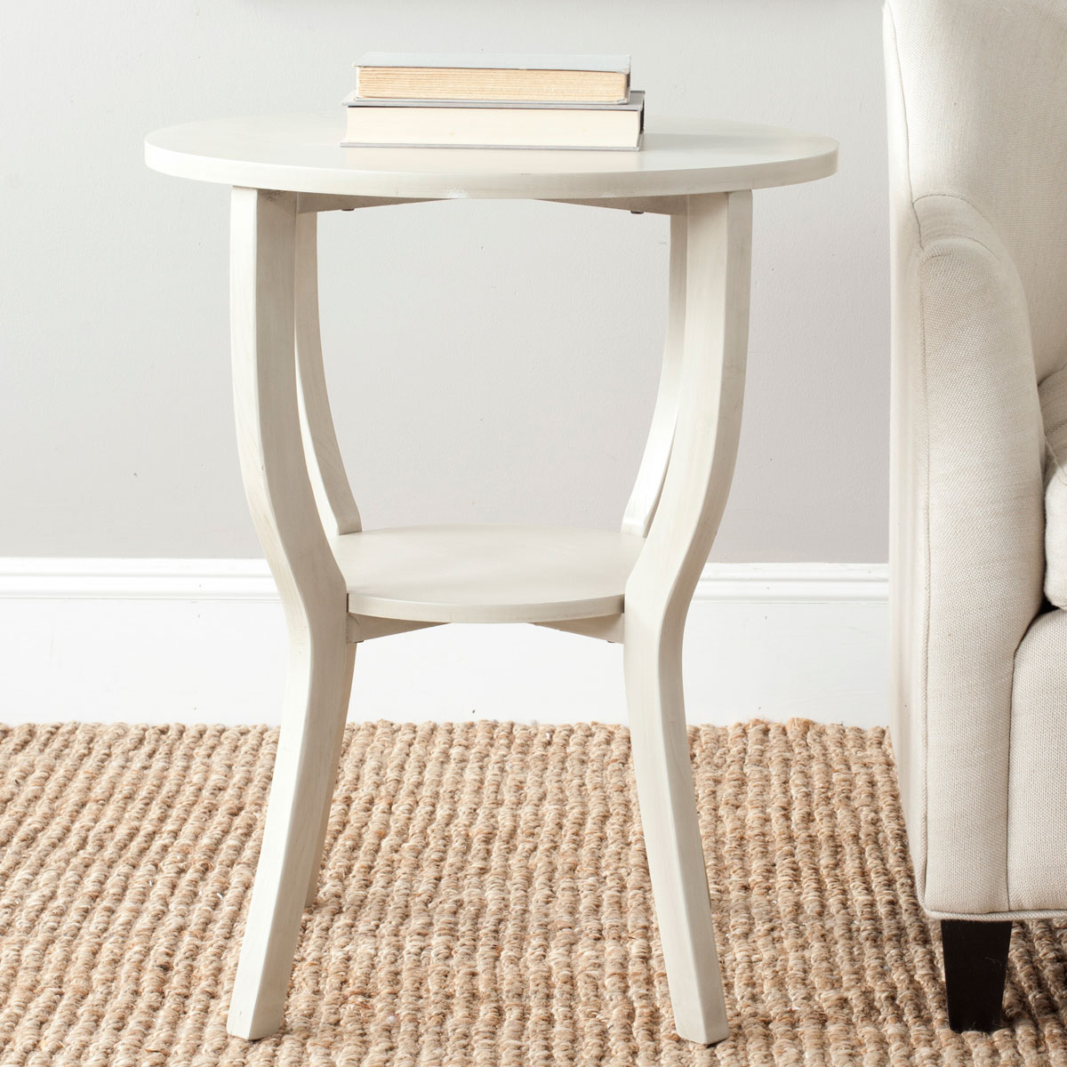 accent tables furniture safavieh room round pedestal table crafted elm wood with whitewash finish the top paired hour glass legs and useful storage shelf modern white coffee