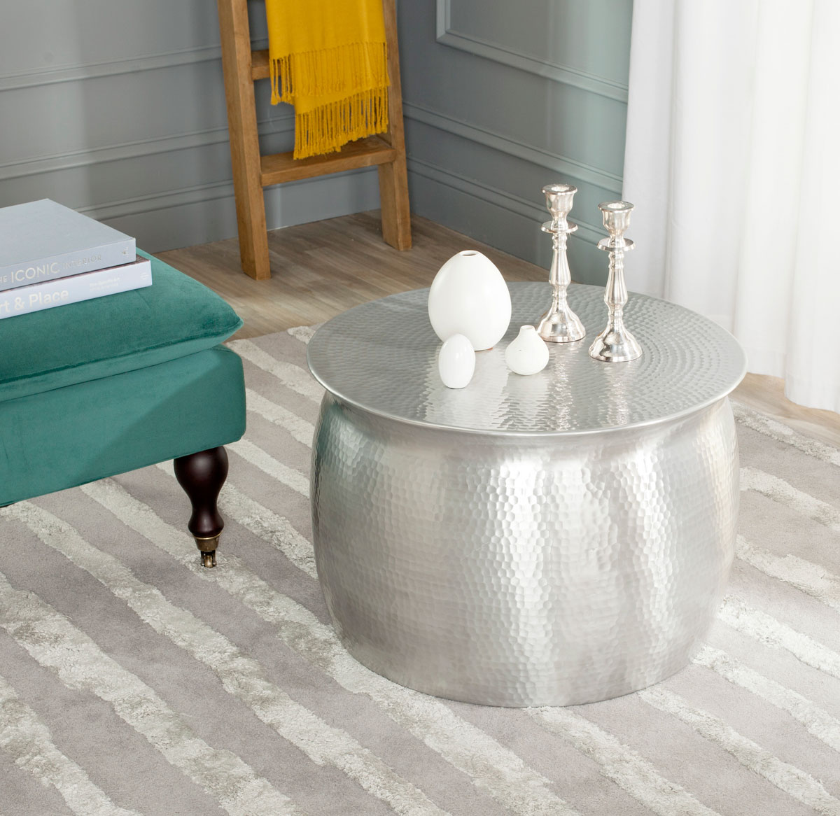 accent tables furniture safavieh room silver table target share this product half moon mirrored end with pipe legs white resin pottery barn kitchen sets home decor website seater