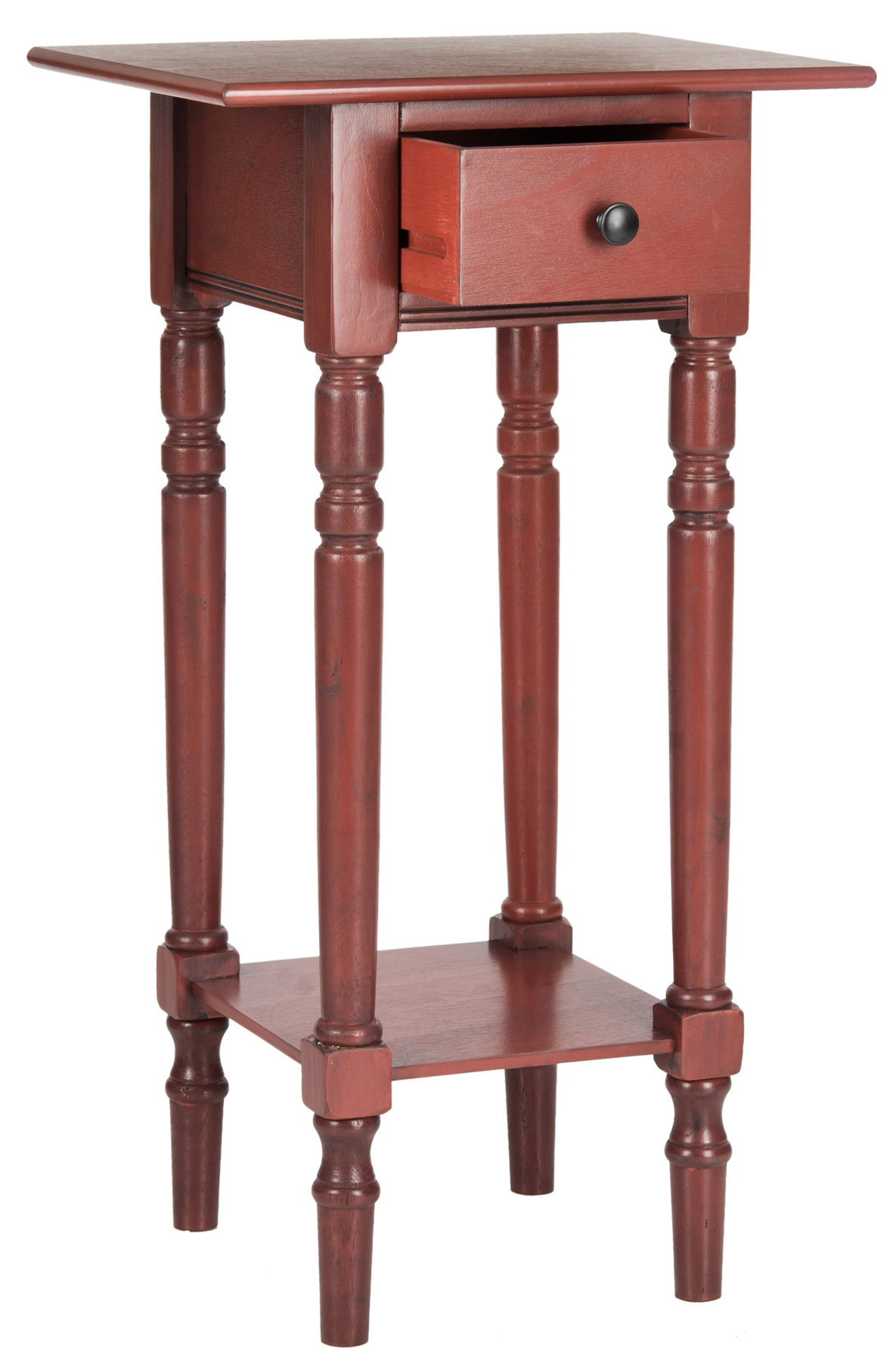 accent tables furniture safavieh side red table wood large enough hold essentials like glasses reading lamp and books sabrina pine with pretty finish doesn need much space shine