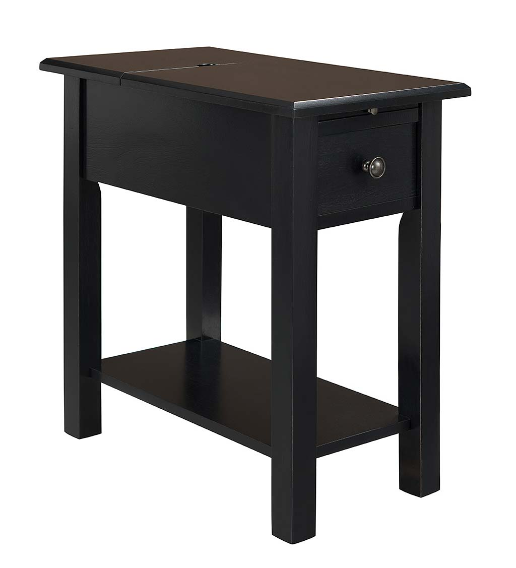 accent tables plowhearth small drop leaf table benton side with charging station craftsman lamp rollaway ikea distressed black ethan allen office furniture round coffee decor cast