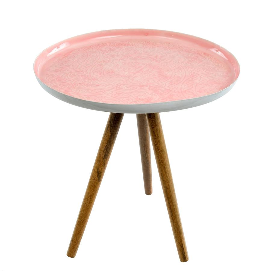 accent tables putti fine furnishings pink metal table isabel enamel tripod large indaba trading giant wall clock black gloss coffee bronze patio side moroccan drum couch feet dale