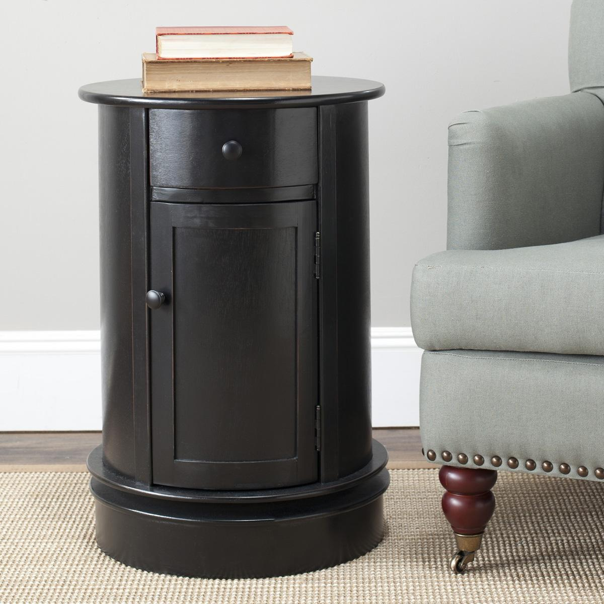 accent tables storage furniture safavieh room distressed black table features versatile appeal that cannot denied with drawer and cabinet its simple styling pine finish burgundy