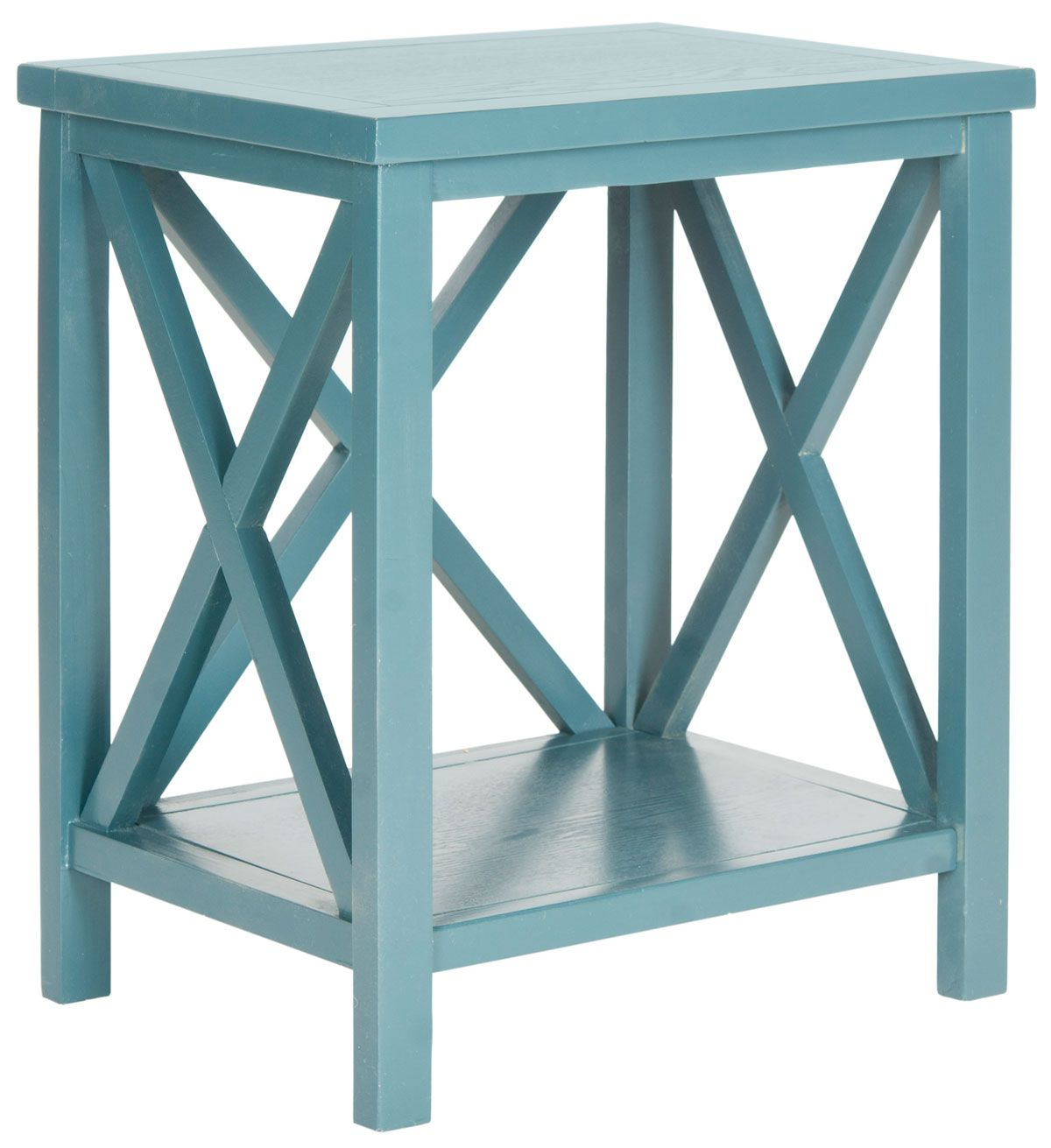 accent tables storage furniture teal blue table safavieh tall with stools front porch sets white wire side counter height dining chairs pedestal kitchen reclaimed wood square