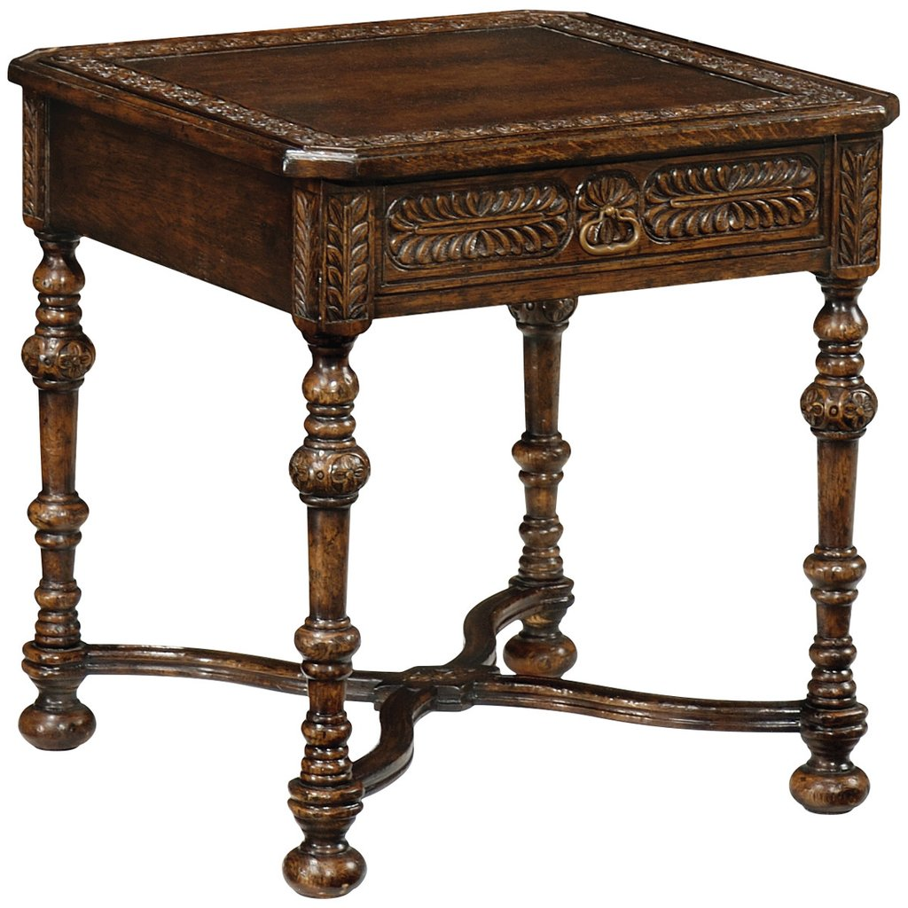 accent tables tudor oak dark brown light jonathan charles table chip carved square side next tiffany nightstand lamps ashley chairs circular nest furniture pieces simple coffee