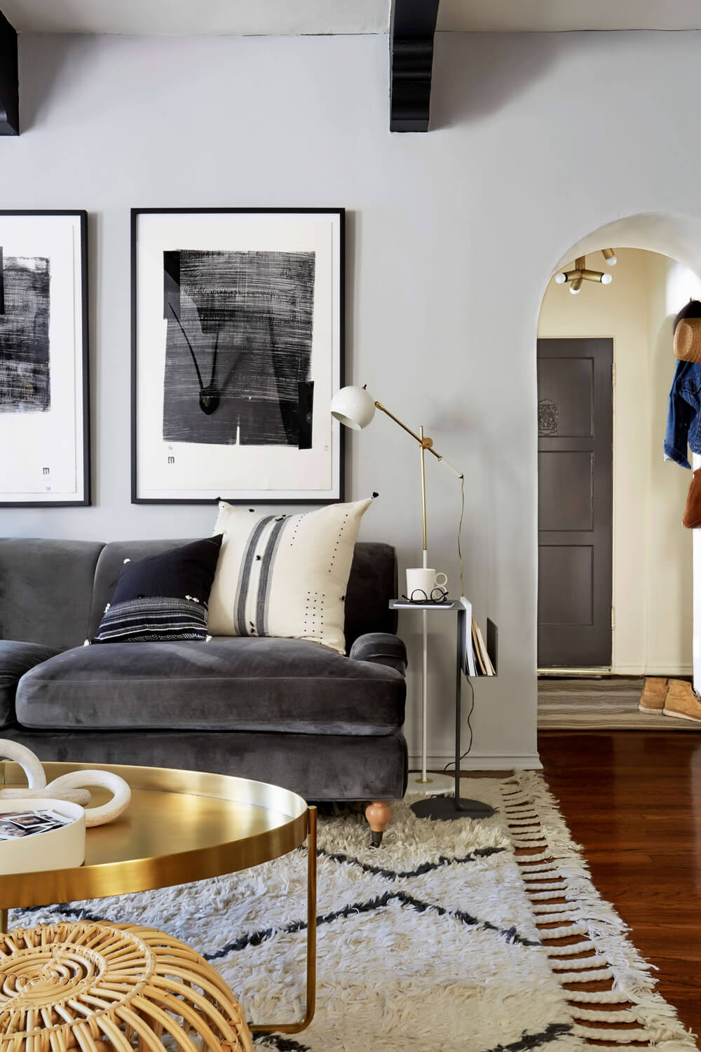 accent tables under emily henderson styling bedside table small half circle industrial hairpin legs high behind couch black gloss cube side huge outdoor umbrella hallway lamp hot